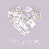 Corazón de estilo dibujado set de artículos de moda de la mano — Vector de stock