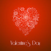 Happy Valentine's Day, floral doodle heart — Vettoriale Stock