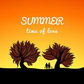 Poster landschaft sommerstyle, liebesthema — Stockvektor