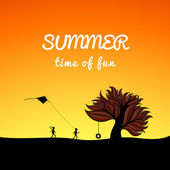 Poster summer landscape style, fun theme — Stock Vector