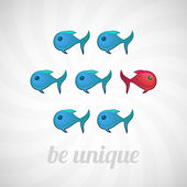 Be unique concept, blue red fish, isolated — Stock Vector