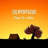 Poster landschaft sommerstyle, erholung-thema, — Stockvektor
