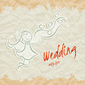 Wedding invitation card with beautiful bride — Stock Vector