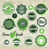 Collection green vector labels, badges and icons — Stock Vector
