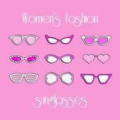 Women fashion isolated sunglasses set — Stock Vector
