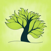 Green tree with branches and leaves — Stock Vector