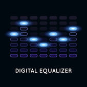 Digital dark equalizer with blue light — Stock Vector