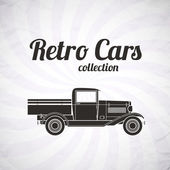 Retro pickup, truck car, vintage collection — Stock Vector