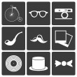 Icons with set hipster items — Stock Vector