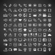 Stock Vector: 100 flat metallic universal icons