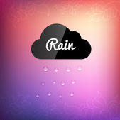 Retro background with cloud rain drop icon — Stock Vector