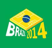 Flache grüne fußballplatz, brasilien-flagge — Stockvektor