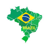 Flat simple Brazil map — Vettoriale Stock