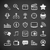 Flat metallic universal icons — Vector de stock