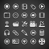 Flat metallic universal icons — Vector de stock