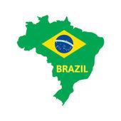 Mapa plano simple de brasil — Vector de stock