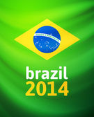 Waving fabric flag of Brazil — Stock Vector