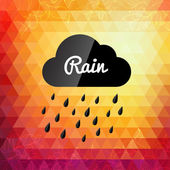 Retro styled autumn rain cloud design card — Vecteur