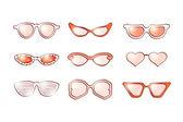 Kvinnor mode isolerade solglasögon set — Stockfoto