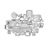 Black and white doodle sketch icons set — Foto Stock