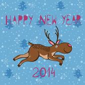 Novoroční přání s jelen — Stock vektor