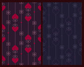 Two vertical seamless patterns with hearts and curly decorative — Stok Vektör