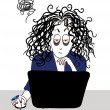 Tired girl with curly hair working near the computer. — Stock Vector