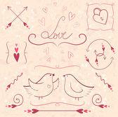 Set of valentine's day vintage design elements. — Vetorial Stock