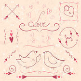 Set of valentine's day vintage design elements. — Vector de stock