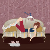 Girl on a sofa and a sheep — Stock Vector
