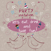The hand drawn party invitation — Stock Vector