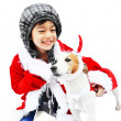 Little santa with dog reindeer — Stock Photo
