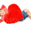 ������, ������: Little boy lay down with pillow heart