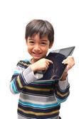 Menino feliz com tablet — Fotografia Stock