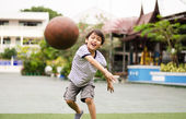 Little boy playing ball at playground — Stock Photo