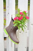 Gardening  acceseries boot pot — Stock Photo