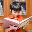 Little Boy in library holding book — Stock Photo #44024605