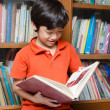 Little Boy in library holding book — Stock Photo #44024711
