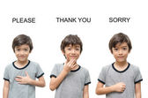Please thank you sorry kid hand sign language on white backgroun — Stock Photo