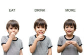 Eat ,drink, more kid hand sign language on white background — Stock Photo