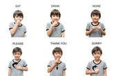 Kid hand sign language on white background — Stock Photo