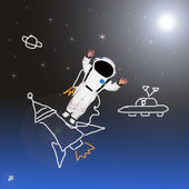 Little boy dream want to be an astronaut in space — Stock Photo