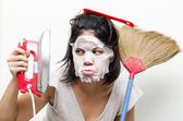 Mother housewife busy on house work — Stock Photo