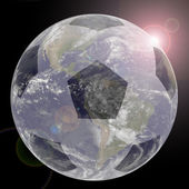 Soccer Globe with lens flair Elements of this image furnished by — Stock Photo