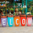 Welcome word made from flower pot — Stock Photo