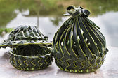 Coconut leaves basket — Stock Photo