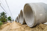Concrete drainage pipe at construction site — Stock Photo