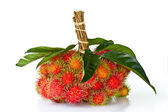 Asian fruit rambutan on the white background — Stock Photo