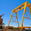 Mobile crane in dockyard — Stock Photo