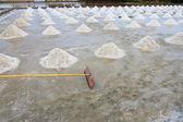 Harrow and salt field — Stock Photo